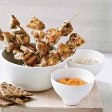 Food & Wine: Herb-Marinated Chicken Skewers with Harissa
