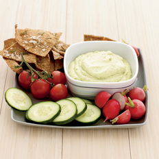 Food & Wine: Curried Tofu-and-Avocado Dip with Rosemary Pita Chips