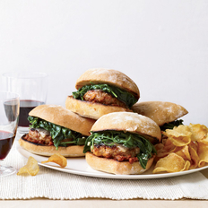 Food & Wine: Italian-Sausage Burgers with Garlicky Spinach