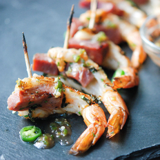 Food & Wine: Skewered Shrimp and Ham with Apple Jelly