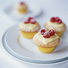 Food & Wine: Vanilla Cupcakes with Lemon Cream and Raspberries