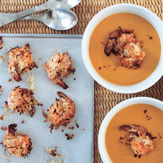 Food & Wine: Carrot-Ginger Soup with Coconut-Roasted Shrimp