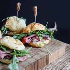 Food & Wine: Brazilian Cheese Bread Sliders with Roast Beef, Red Peppers and Arugula