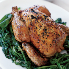Food & Wine: Whole Grilled Chicken with Wilted Arugula