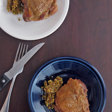 Food & Wine: Roast Chicken Thighs with Pistachio Pesto