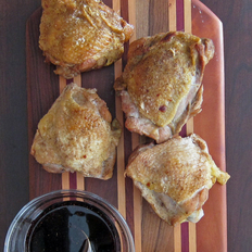 Food & Wine: Roast Chicken Thighs with Red-Wine Vinaigrette