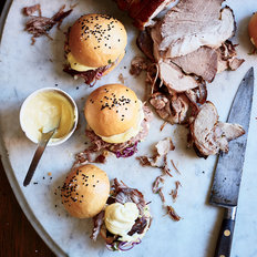 Food & Wine: Roast Pork Sandwiches with Three-Cabbage Slaw and Aioli