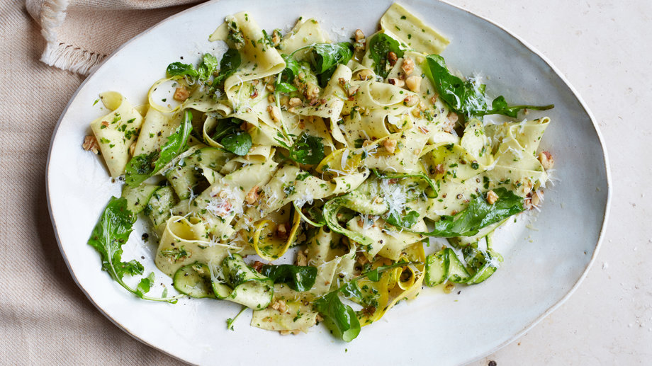 Pappardelle with Summer Squash and Arugula-Walnut Sauce