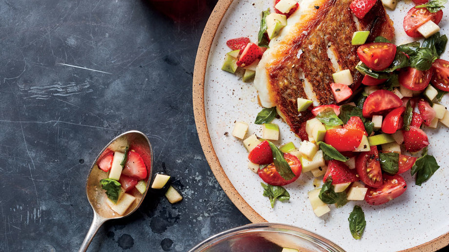 Seared Snapper with Granny Smith, Strawberry, and Basil Salsa