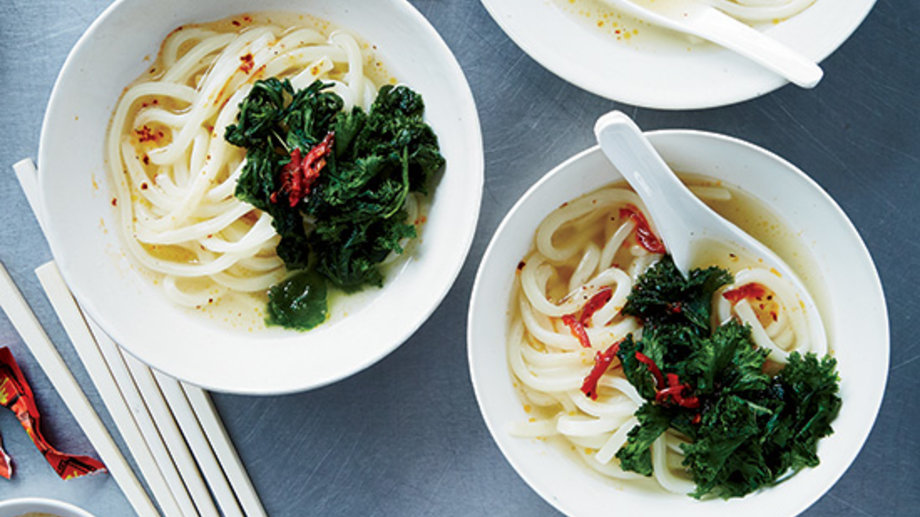 Udon with Preserved Mustard Greens and Chile Sauce