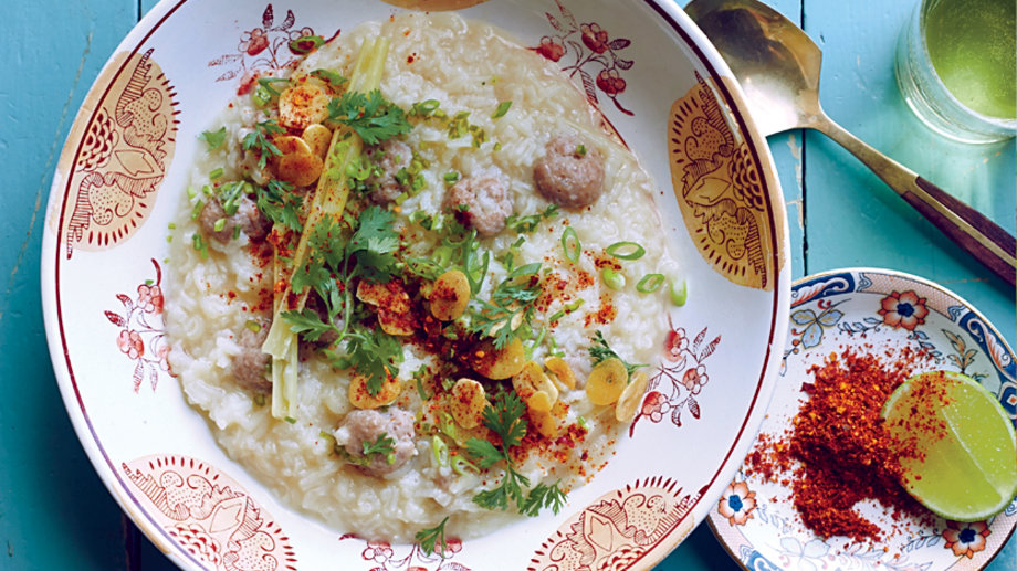 Rice Congee with Pork Meatballs
