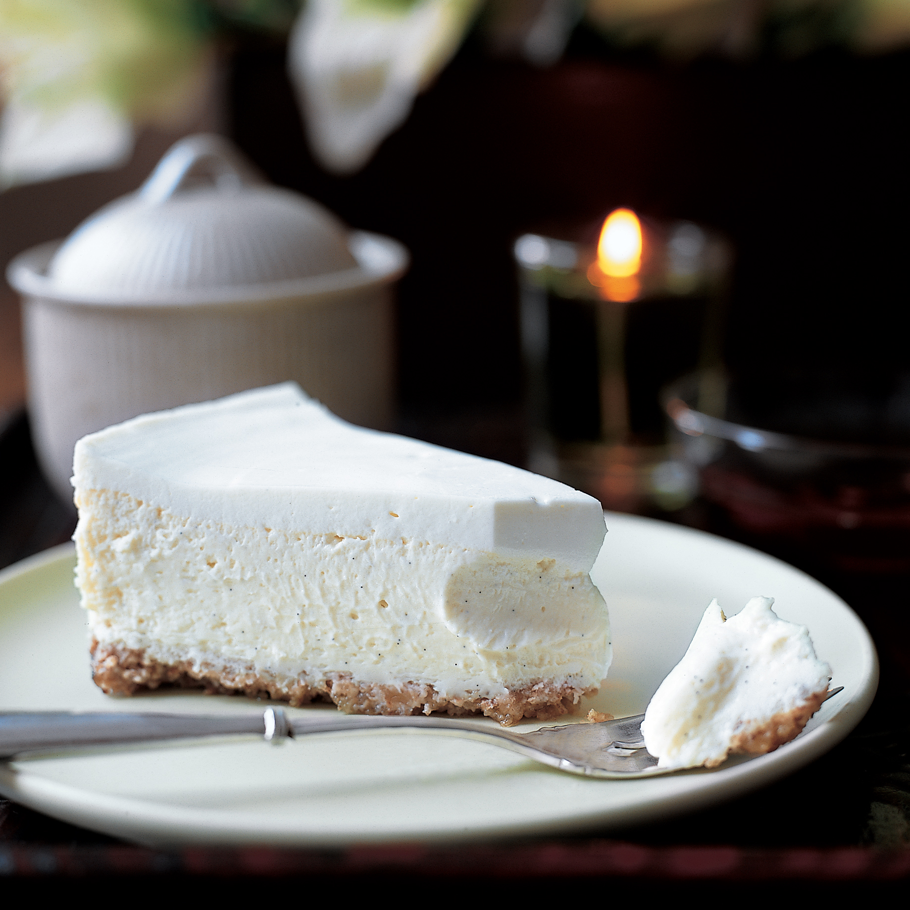 Vanilla Bean Cheesecake with Walnut Crust Recipe - Peggy ...