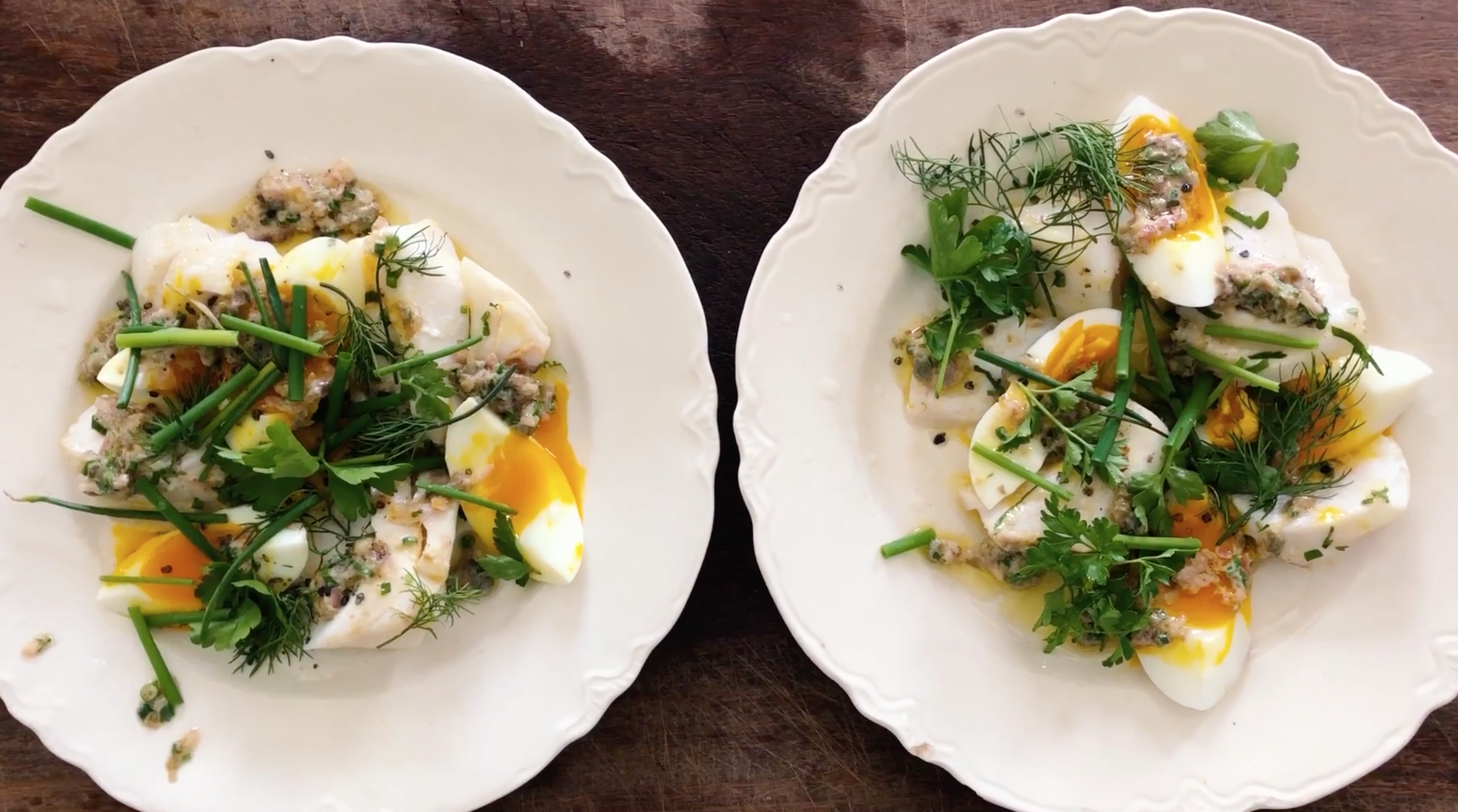 Warm Cod Salad with Tarragon Sauce and Boiled Eggs