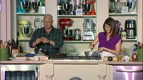 Gail Simmons & Tom Colicchio: Grilled Squab with Peach Salad