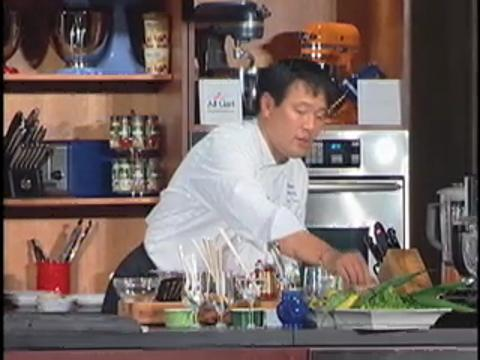 Ming Tsai: Shrimp Crusted Halibut with Spicy Asparagus Salad