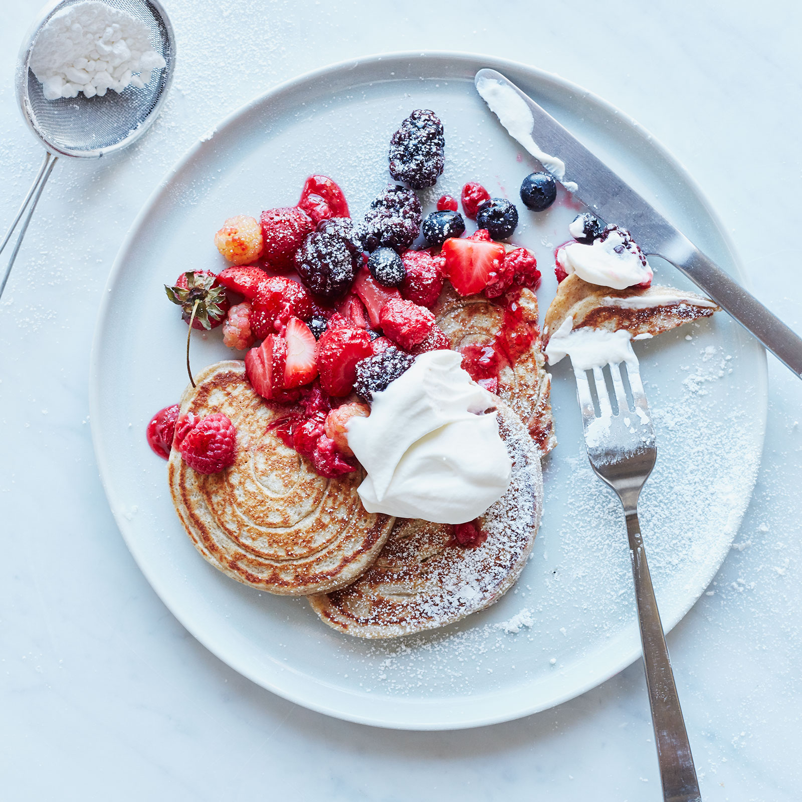Whole-Wheat Pancakes With Roasted Berries Recipe